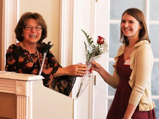 Jo Ann Ferrigno gives High School scholarship recipient