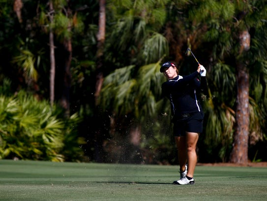 LPGA Tour pro Ariya Jutanugarn plays in the final round of the CME Group Tour Championship at the Tiburón Golf Club in North Naples on Sunday, Nov. 19, 2017.