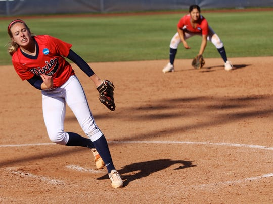 Dixie State pitcher Michelle Duncan delivers against California-Pennsylvania at the College World Series on Thursday.