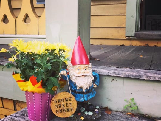 Jess Rinker and Joe McGee's garden gnome at their new