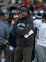 Wolf Pack coach Jay Norvell looks on during his team's