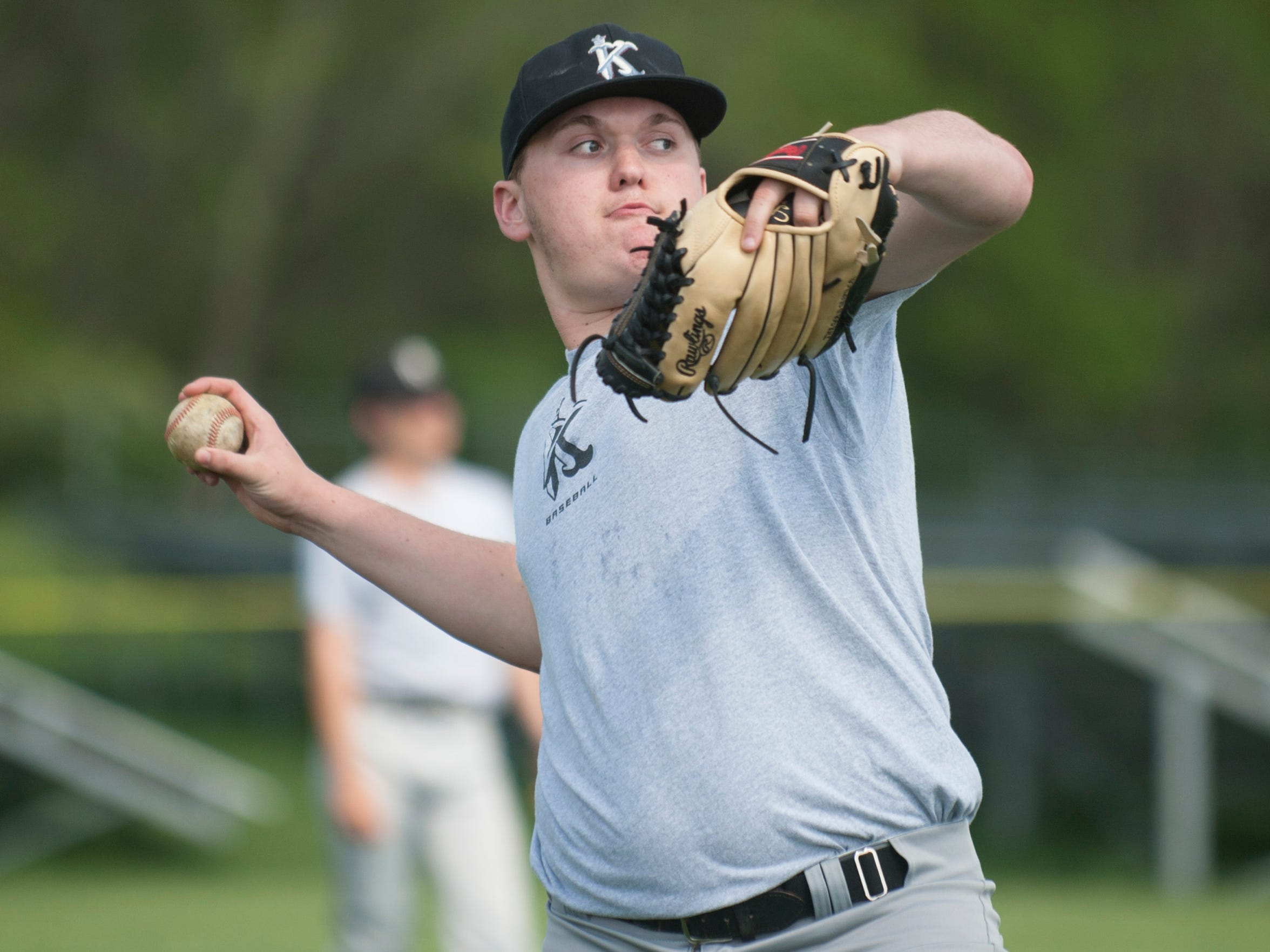 Kings Christian baseball player Jake Andrey makes a throw during a practice in Moorestown on Monday, May 7, 2018.