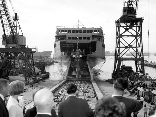 The ferry Hyak is launched into the water Dec. 17, 1966. She began service with  Washington State Ferries in 1967.