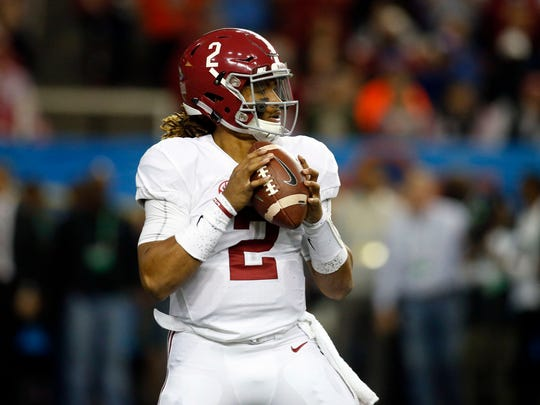Alabama's offense is led by quarterback Jalen Hurts (2).