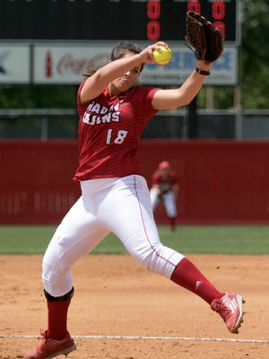 Alex Stewart pitched four perfect innings before allowing her first baserunner in UL's 14-0 win over Appalachian State on Sunday.
