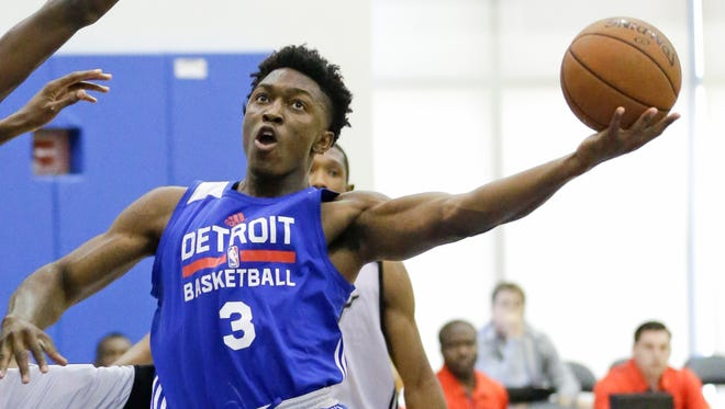 Detroit Pistons wing Stanley Johnson makes a shot against the Miami Heat during the NBA summer league July 10, 2015, in Orlando.
