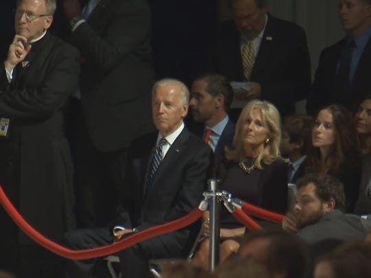 Vice President Joe Biden and wife, Dr. Jill Biden, listen to Pope Francis' address before the pope's departure back to Rome.