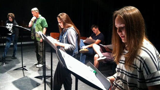 "The cast of ""Sea Fairies"" — Jesse Spooner, Richard Hill, Elle Habiban, Tanner Monk, Mya Odom — reads through the new play by Kirt Shineman as part of the Second Act New Works Festival at Dixie State University in St. George."
