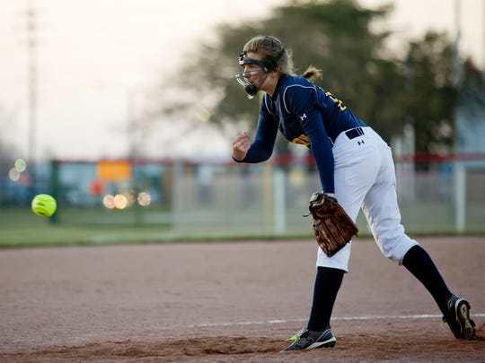 Northern's Taylor Ainsworth throws a pitch during a softball game Friday, May 1, 2015 at Port Huron High School.