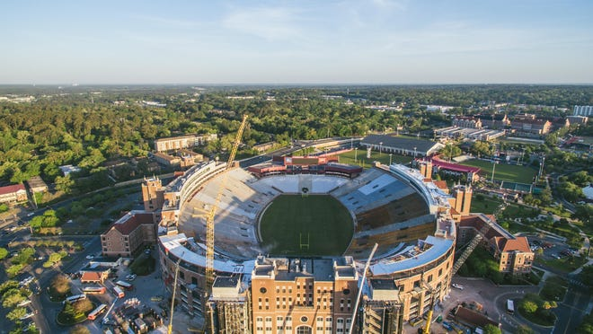 An aerial view of Doak Campbell Stadium, which is in the process of having an $80 million Champions Club section added for the 2016 season.