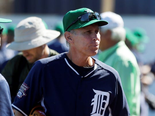 FILE - In this March 17, 2015, file photo, Detroit Tigers assistant to the general manager Alan Trammell ilooks on before a spring training exhibition baseball game against the Washington Nationals in Lakeland, Fla. Former Tigers teammates Jack Morris and Trammell were elected to the baseball Hall of Fame on Sunday, Dec. 10, 2017, completing the journey from Motown to Cooperstown.
