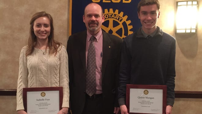 Isabelle Frye; Mike Conner, president of Chambersburg Rotary Club; and Quinn Mangan