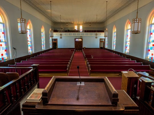 The pulpit of Dexter Avenue King Memorial Baptist Church