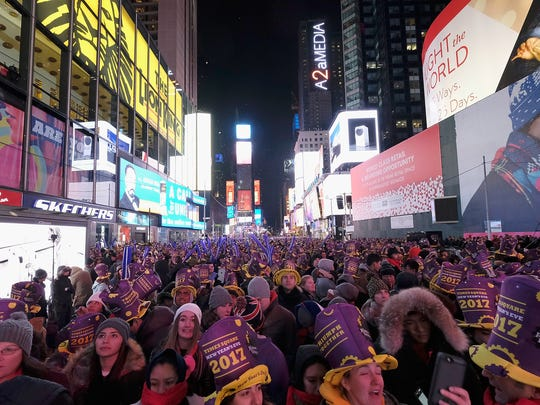 A general view during New Year's Eve 2017 in Times Square on December 31, 2016 in New York City.  (Photo by Dimitrios Kambouris/Getty Images)