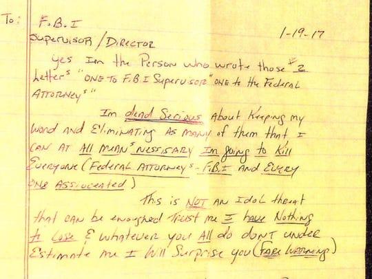 "A letter signed ""Rodney Cydrus"" threatening FBI agents"