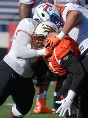 TSU's Robert Myers had his Senior Bowl disrupted by an ankle injury.