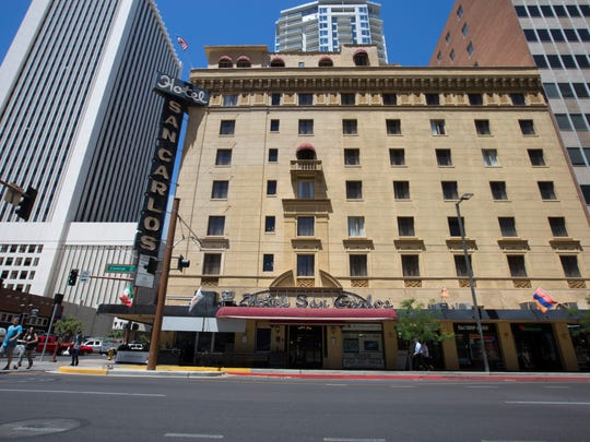 The Hotel San Carlos sits on the corner of Central Avenue and Monroe Street.