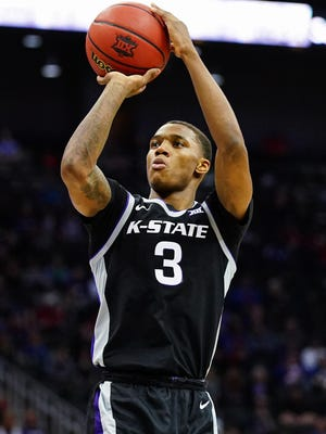Kansas State guard DaJuan Gordon (3) shoots against the TCU Horned Frogs during the first half at Sprint Center on March 11. K-State and Wichita State announced Friday a four-game series starting in 2021 in Wichita.