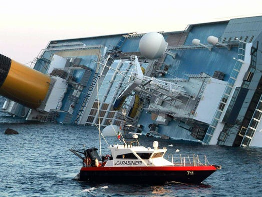 The Costa Concordia with more than 4,000 people on