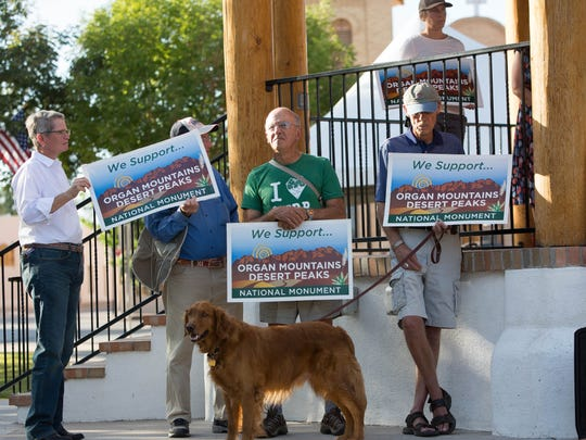Supporters of the Organ Mountains-Desert Peaks gathered at the Plaza de Mesilla, Monday September 18, 2017 after a leaked copy of Interior Secretary Ryan Zinke's review of the Monument was released Sunday, the report didn't contain any recommendations by Zinke to shrink the OMDP. Supporters of the monument took the leaked document with cautious optimism but remaining skeptical of the news.