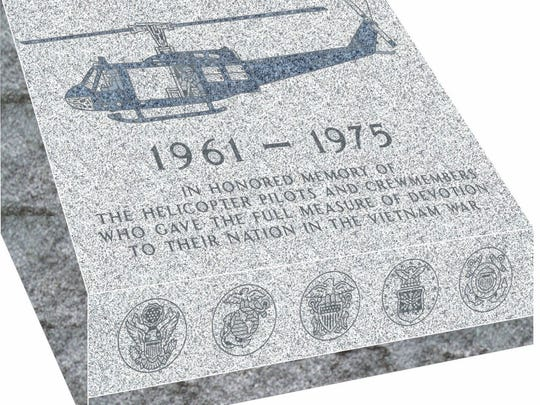 This monument for Vietnam helicopter crews who were killed in the war will be dedicated at Arlington National Cemetery on April 18.