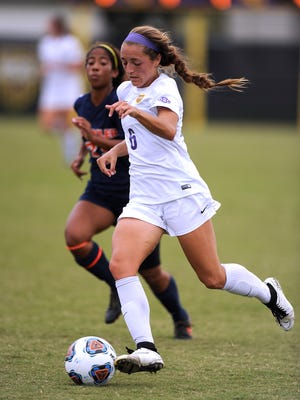 Hardin-Simmons' Maddie McAdams (6) runs the ball down the field during the second half of the Cowgirls' 2-0 win in the American Southwest Conference Championship match on Saturday, Nov. 5, 2016, at the HSU Soccer Complex.