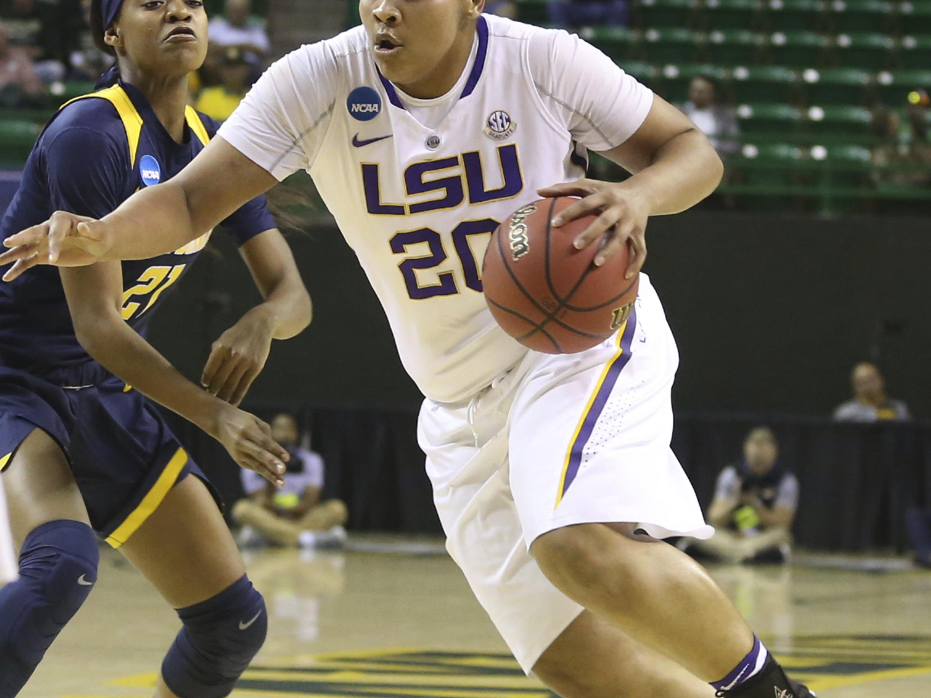 LSU forward Alexis Hyder drives past California guard Mi'Cole Cayton on Saturday night during the teams' opening-round NCAA Tournament game played in Waco, Texas.
