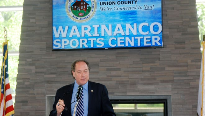 Union County Freeholder Chairman Bruce Bergen speaks at the Warinanco Sports Center.