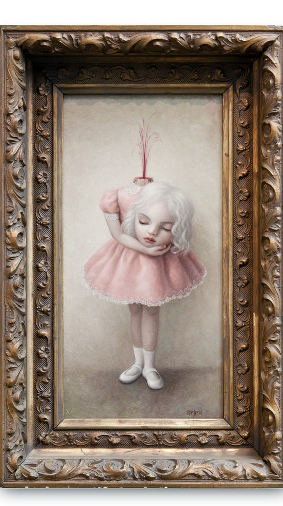 "Mark Ryden, ""Fountain,"" 2003, oil on panel, 12 x 6"