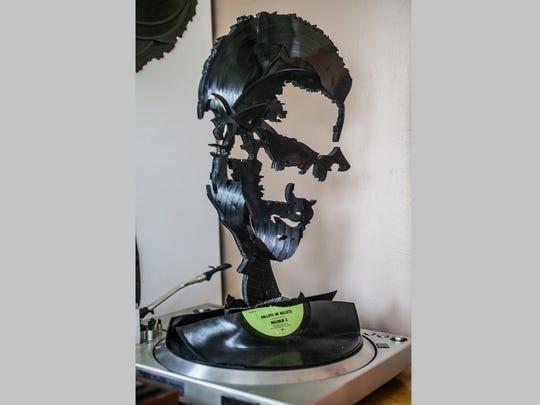 Lobyn Hamilton titled this Malcolm X turntable piece