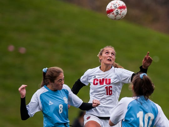 CVU #16 Natalie Durieux gets to the header over South