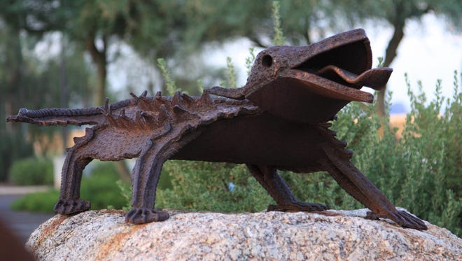 Art blends with the environment at Lizard Acres, where artist Joe Tyler's desert critters are made from durable steel and rebar. The public art installation is at Aqua Linda Park on McDonald Drive and Pima Road.