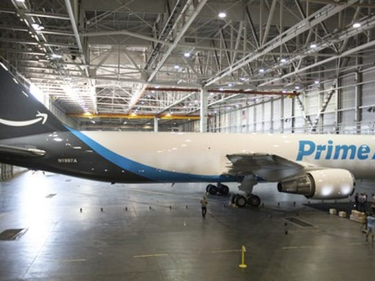 An Amazon Prime Air plane in a hangar.