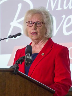 State Sen. Mae Beavers announces that she plans to resign from her state Senate seat to focus on her Republican bid for governor in Mt. Juliet on Aug. 23, 2017.