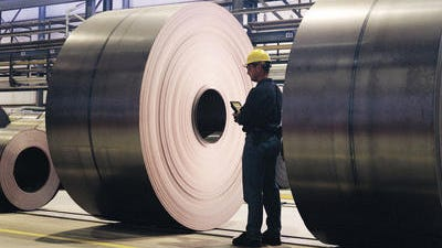 Things are looking up for AK Steel, lenders think. The roll of steel here is at the company's Rockport Works, located on the Ohio River in southwest Indiana.