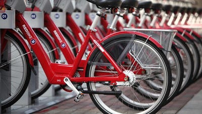 There are 35 Red Bike stations scattered throughout Downtown and in Uptown near the University of Cincinnati and hospitals. The city of Cincinnati put up $1.1 million in funding.