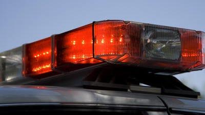 Photos shows police car sirens.