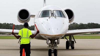A plane taxis at Lafayette Regional Airport.