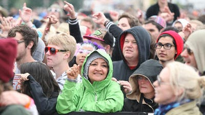 The 2012 Coachella festivals brought both blistering heat and cooler temperatures. In this file photo, the crowd bundles up for some of the chillier moments.