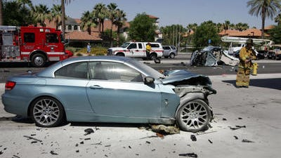 A BMW was destroyed on June 18, 2013 in a collision on Highway 111 in Rancho Mirage. Investigators say its driver, Wade Wheeler, was street racing with another driver and he collided with a Ford Focus and killed an 81-year-old woman.