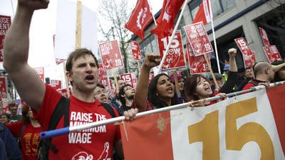 Minimum wage hike protest in Seattle