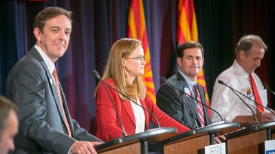 Arizona governor candidates Ken Bennett, Christine Jones, Doug Ducey and Frank Riggs at a forum on immigration