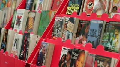 Books on display at a high school book fair