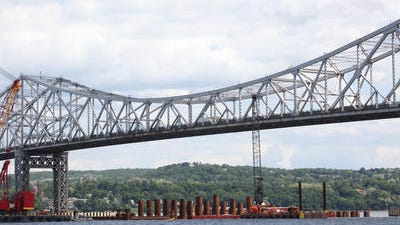 A view of the work at the site of the new Tappan Zee Bridge construction, photographed May 30, 2014 .