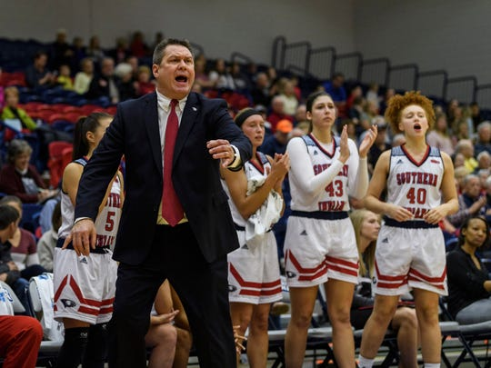 USI Head Coach Rick Stein yells from the sideline during the fourth quarter at USI's Physical Activities Center in Evansville, Ind., Thursday, Nov. 30, 2017. The Screaming Eagles defeated the Flyers, 67-56.