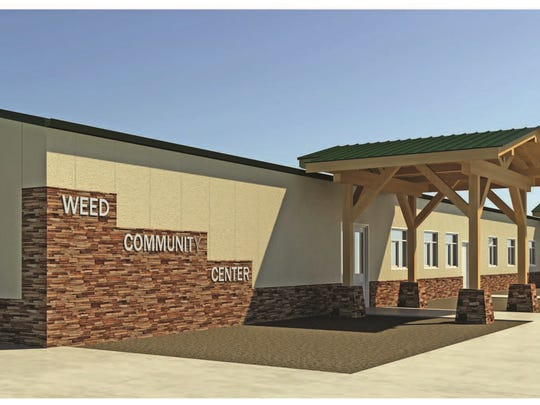 An artist's rendering shows what the new Weed Community Center will look like once it's finished in the summer of 2018.