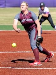Brownwood pitcher Chyanne Ellett (16) works out of