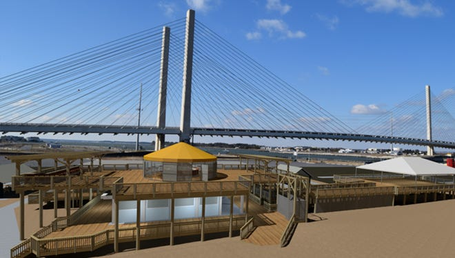 An artist's rendering of the Big Chill Beach Club that features two upper deck facilities for family dining and special events set against the backdrop of the Indian River Inlet Bridge.