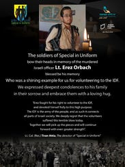 Poster honoring Erez Orbach, one of four Israeli soldiers