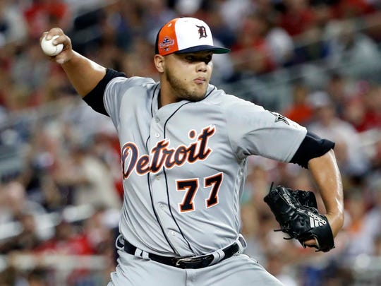 American League pitcher Joe Jimenez of the Detroit Tigers pitches in the fourth inning in the MLB All Star Game at Nationals Ballpark on July 17, 2018 in Washington, D.C.